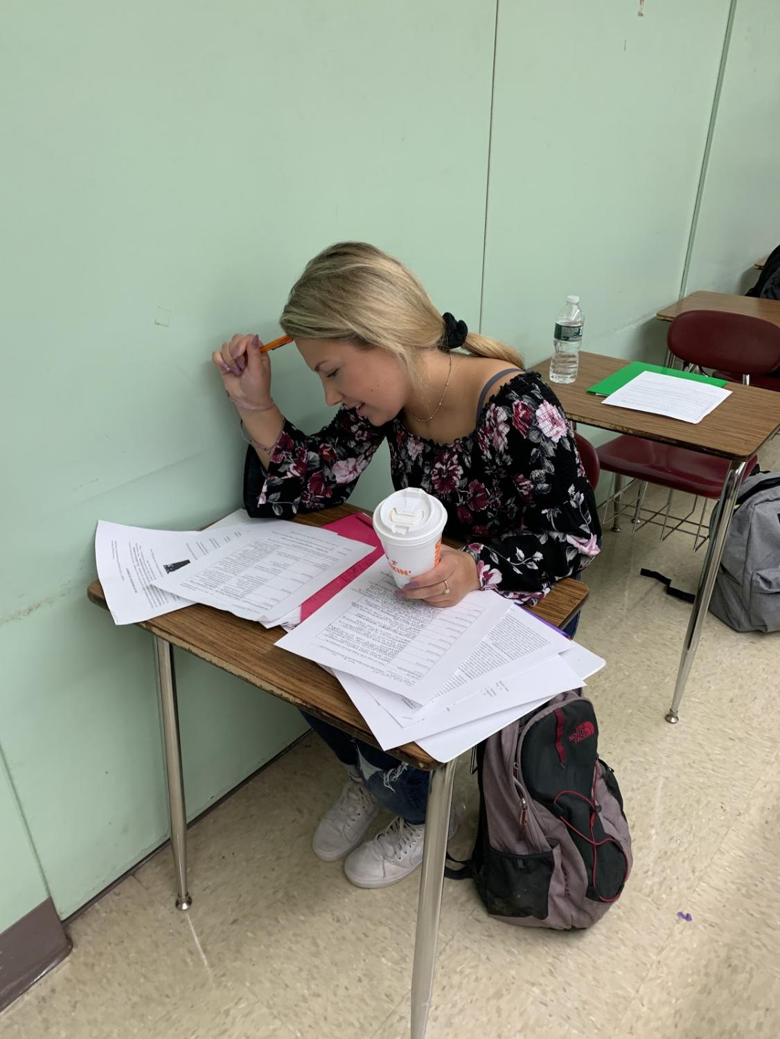 Tia Cormier, stressed and sleep deprived - in need of time to get her work done (Photo Credit: Caroline)