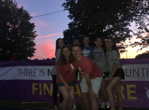 Some of Oakmont's Peer Leaders, including co-presidents Sophia Leblnac and Alana Barrett, pose for a picture at the 2019 Relay for Life