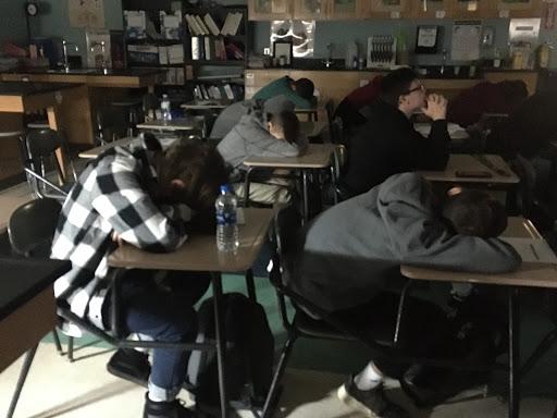 Mrs. Archangelo's freshman biology class mid-meditation