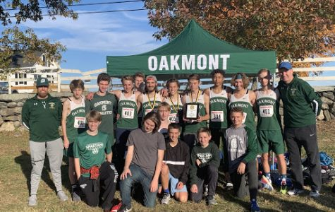 Oakmont boys' cross country team summed up an undefeated regular season by winning the Mid-Wach C League meet, 50-57, over Quabbin, Saturday afternoon, at Hollis Hill in Fitchburg. (Photo by Kendra Steucek.)
