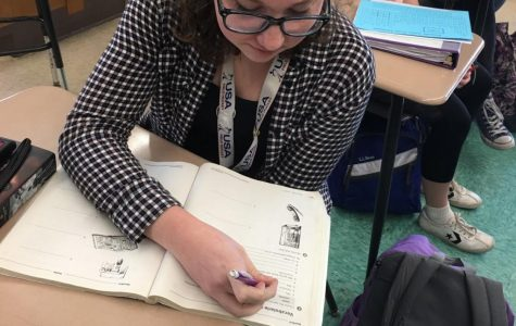 Sophomore, Ava Bottone, does work in Spanish class. Photo by Mollie Quill
