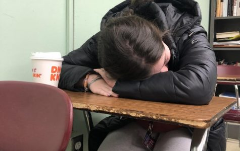 After a long night of restlessness, Oakmont student lays her head to rest on the desk below