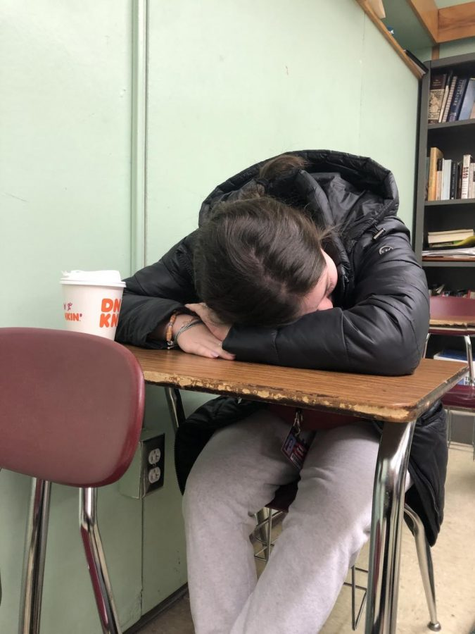 After+a+long+night+of+restlessness%2C+Oakmont+student+lays+her+head+to+rest+on+the+desk+below