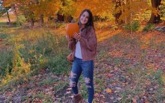 Senior Sophia Dellasanta finds a way to enjoy Halloween activities this year! Pumpkin picking at Red Apple Farm.