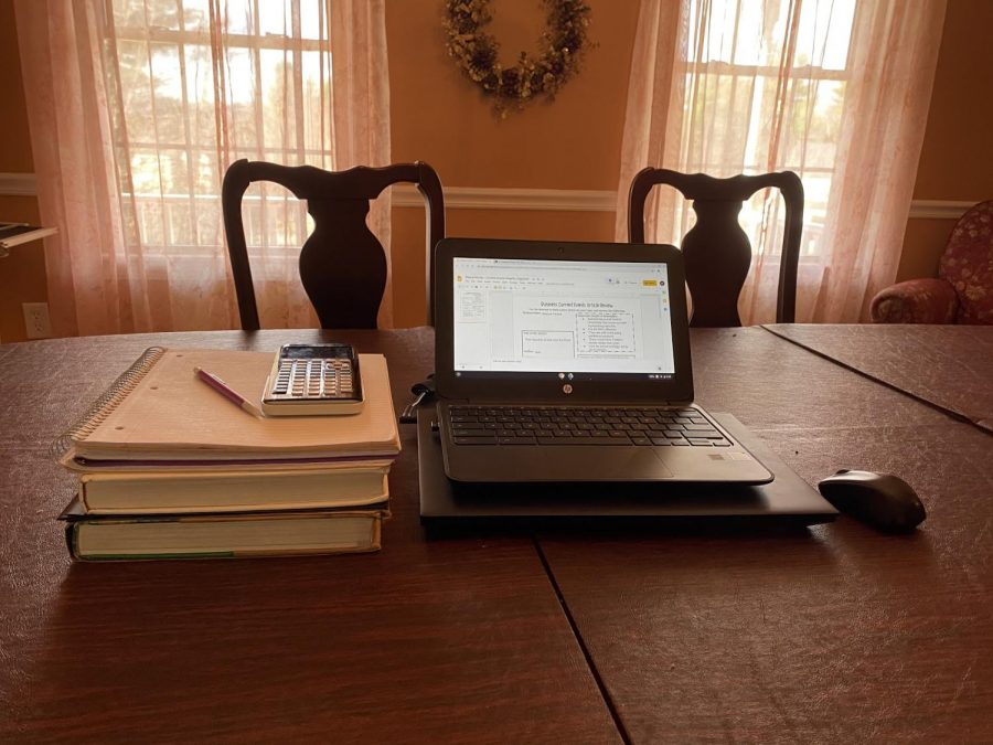 Oakmont student Elayna Ferrick's work space while working from home.