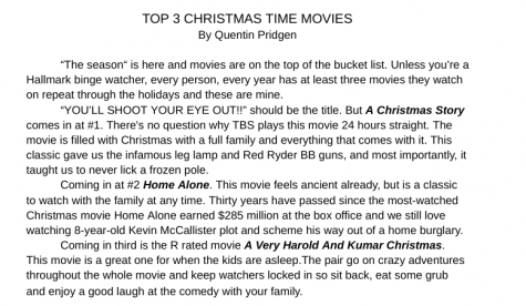 TOP THREE CHRISTMAS TIME MOVIES