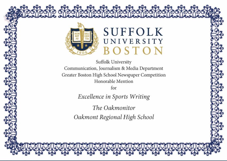 Oakmont Sports Writers Awarded